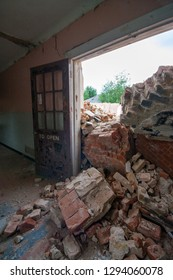 Rubble from demolition at a derelict lunatic asylum, Severalls, Colchester, Essex, England, UK