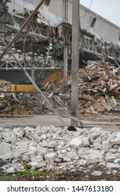 Rubble from earthquake aftermath destroyed warehouse