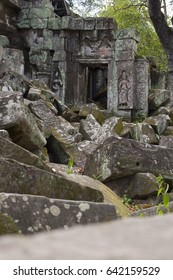 Rubble in Ta Prohm Temple, Cambodia.