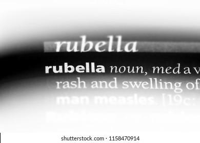 rubella word in a dictionary. rubella concept.