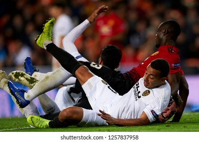 Ruben Vezo of Valencia and Eric Bailly of Manchester United during the match between Valencia CF and Manchester United at Mestalla Stadium in Valencia, Spain on December 12, 2018.