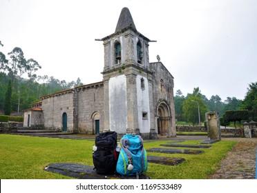 RUBIAES, CAMINO DE SANTIAGO, SPAIN - JULY 11, 2018: Camino Portuguese, Rubiaes Church of S. Pedro de Rubiaes, place of passage for pilgrims, The St. James Way