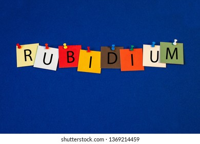 Rubidium – one of a complete periodic table series of element names - educational sign or design for teaching chemistry.