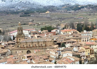 Rubielos de Mora from above in wintertime,  Teruel province, Aragon, Spain