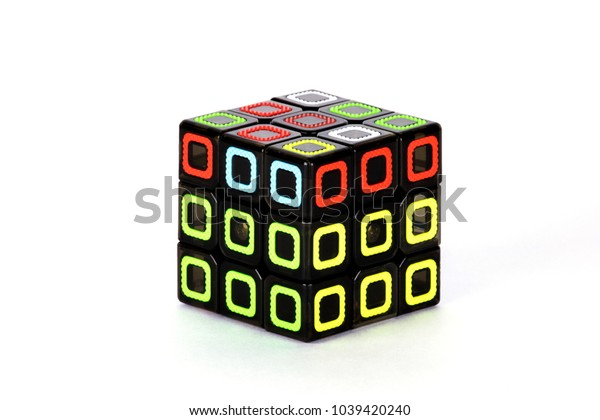 The Rubik`s cube on the white background. The solution sequence four. The object is isolated on white and a clipping path is provided for easy extraction.