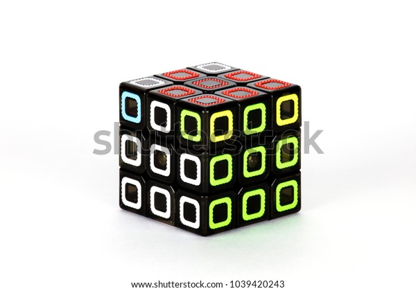 The Rubik`s cube on the white background. The solution sequence seven. The object is isolated on white and a clipping path is provided for easy extraction.