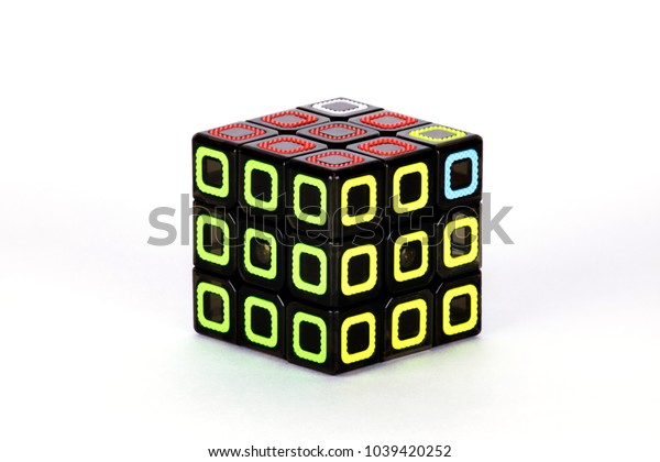 The Rubik`s cube on the white background. The solution sequence nine. The object is isolated on white and a clipping path is provided for easy extraction.