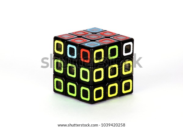 The Rubik`s cube on the white background. The solution sequence six. The object is isolated on white and a clipping path is provided for easy extraction.