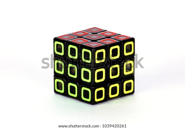 The Rubik`s cube on the white background. The solution sequence ten, final. The object is isolated on white and a clipping path is provided for easy extraction.