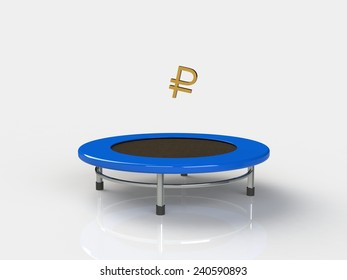 Ruble Jumping on a trampoline on a white background