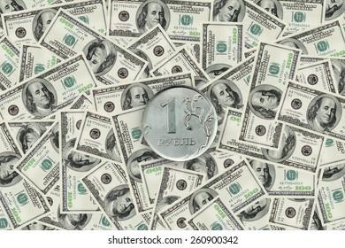 ruble on dollar background