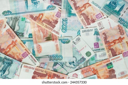 Rubles, Russian money, banknotes. Background