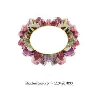 Ruby, amethyst and topaz frame isolated on white background, elegant and luxury natural gemstone on different colorful shades with golden border inside and clear space for your text.
