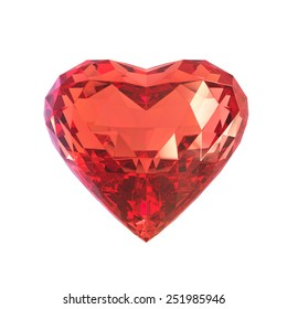 Ruby gem heart, isolated