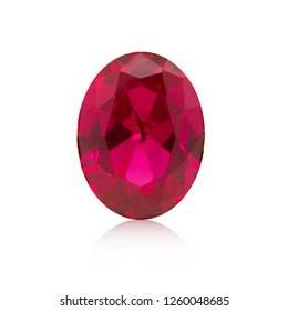 Ruby Gem Stone oval cut on white background isolate