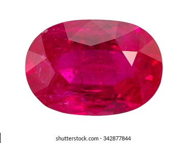 Ruby Gem Stone oval cut. isolated