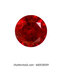 Ruby Gem Stone round cut. isolated