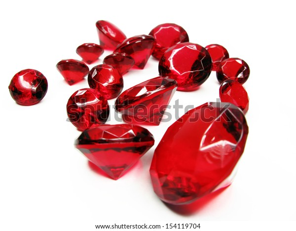 ruby gem stones crystals isolated on white background