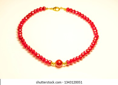 ruby necklace in a closeup