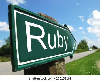 Ruby (programming language) signpost along a rural road