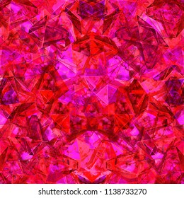 Ruby red kaleidoscope seamless illustration. Textured hand drawn pattern for your design.