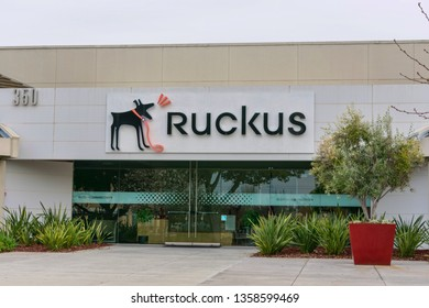 Ruckus sign and barking dog logo near company headquarters in Silicon Valley. Ruckus Networks, is ARRIS company, produces networking equipment  - Santa Clara, California, USA - March 31, 2019