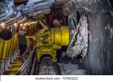 Ruda Slaska, Poland - July 16, 2017: A shearer  machine working  in a coal mine.