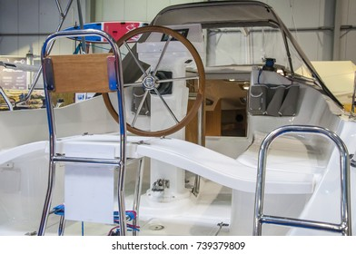 Rudder of luxury yacht. Steering of a boat.