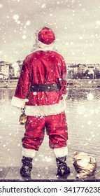 Rude and drunk Santa Claus pee in the river