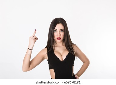 rude gesture with finger up, light background