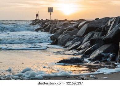Rudee Inlet Rock Jetty at Dawn at the Virginia Beach Oceanfront