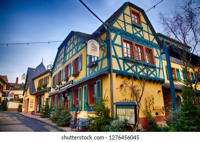 RUDESHEIM, GERMANY - DEC 18, 2018 -Traditional half timbered houses in Rudisheim, Germany