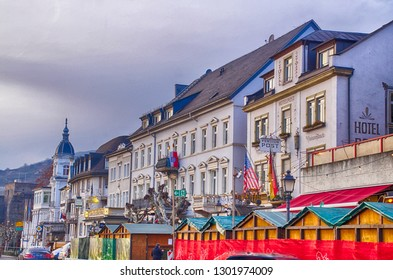RUDESHEIM, GERMANY - DEC 18, 2018 -  Christmas market in Rudisheim, Germany
