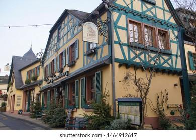 RUDESHEIM, GERMANY - DEC 18, 2018 -Traditional half timbered houses in Rudisheim, Germany