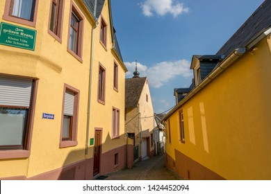 Rudesheim, Germany - July 07, 2018: View of one of the streets in Rudesheim