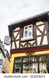 RUDESHEIM, GERMANY - JUNE 10, 2015: Architecture of Rudesheim, Germany. Rudesheim is a winemaking town in the Rhine Gorge and thereby part of the UNESCO World Heritage Site