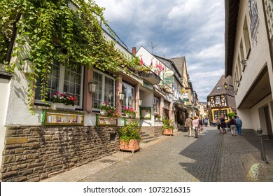 RUDESHEIM, GERMANY - JUNE 30, 2016: Old architecture of Rudesheim near the river Rhine, Germany on June 30, 2016