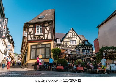 Rudesheim Germany October 2018, colorful Streets at the old traditional historical village by the rhine river