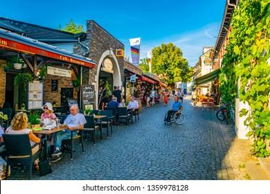 RUDESHEIM AM RHEIN, GERMANY, AUGUST 16, 2018: City center of Rudesheim am Rhein in Germany