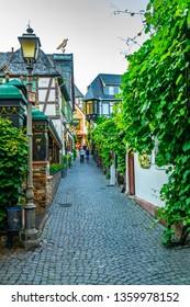 RUDESHEIM AM RHEIN, GERMANY, AUGUST 16, 2018: Tourists are strolling through famous Drosselgasse street in Rudesheim am Rhein in Germany