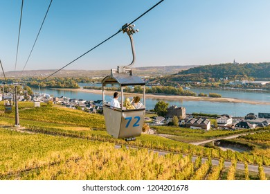Rudesheim am rhein Germany October 2018, people tourist in cable car up the hill to Niederwald monument