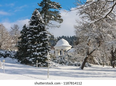 Rudolf pramen colonnade in winter. Spa town Marianske Lazne (Marienbad) Czech Republic.Winter time.