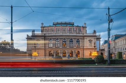 Rudolfinum music auditorium in Prague with a tram in motion, Czech Republic