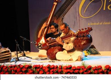 Rudra Veena -- an Indian string insturment -- maestro of the Hindustani dhrupad style, Ustad (maestro) Baha'uddin Dagar,  performing at the Classical Music Festival in New Delhi on October 27, 2017