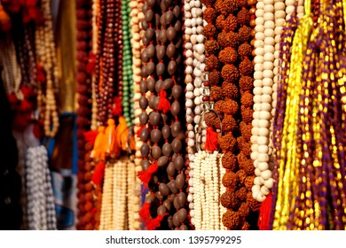 Rudraksh Chain for sale in Varanasi India. Typically used by the hindu sadhus.