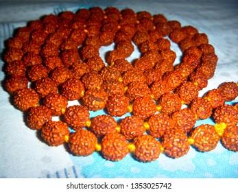 Rudraksha mala prayer beads.
