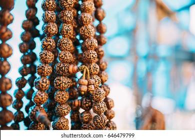 Rudraksha mala prayer beads. Mala Island, Kathmandu, Nepal, Pashupatinath, Rudraksha.