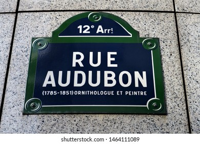 Rue Audubon (1785-1851) Ornithologue et peintre. (Ornithologist and painter). Name plate of street. Paris, France.