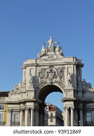 The rue Augusta Arch seen from the praca do Comercio in Lisbon in Portugal