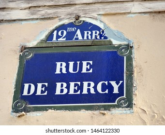 Rue de Bercy, Headquarters of the Ministry of Finance of France. Name plate of street. Paris, France. October 2018.